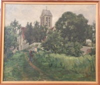 paysanne dans un chemin devant l'église by germain david-nillet