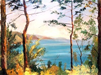 seascape through trees by mabel young