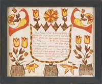untitled (fraktur birth certificate for rachel gaff) by abraham huth