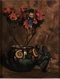 vaso di fiori con pupazzetto lenci appeso lenci appeso a un ramo e statuina posata accanto by filippo vacchetti
