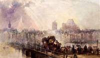 a carriage and pedestrians crossing a river bridge in a continental town scene by eugene campina