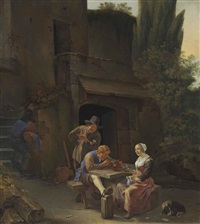 peasants drinking and smoking at a table in an italianate courtyard by johannes natus