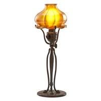 tiffany studios adjustable desk lamp with quezal shade by quezal (co.)