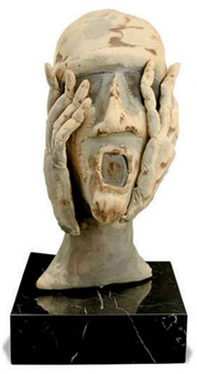 untitled (head with hands) by eva aeppli