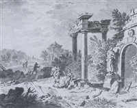 peasants resting among classical ruins by jacob van der smissen