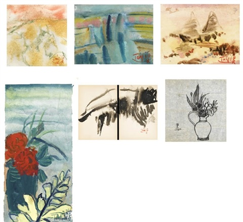 abstract landscape and flower (6 works, various sizes) by t'ang haywen