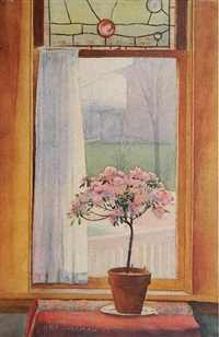 flower pot in a window by ora coltman