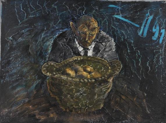 ohne titel (selbstbildnis mit kartoffeln) by jörg immendorff