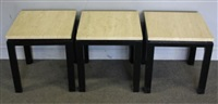3 occasional tables with travertine tops by harvey probber