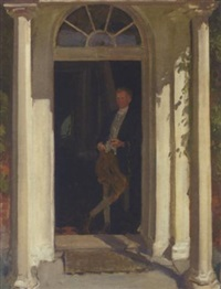 a gentleman with his pipe standing in a doorway by thomas cantrell dugdale