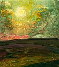 landschaft bei sonnenuntergang by franz krowacek
