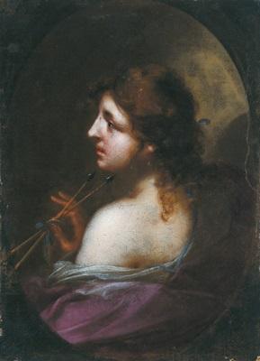 allegorie: profilbildnis einer dame, die zwei pfeile und ein goldstück in der hand hält (allegoria, ritratto di dama che tiene due frecce e una moneta d'oro in mano) by simone pignoni