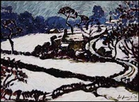 village in the snow by sybil andrews