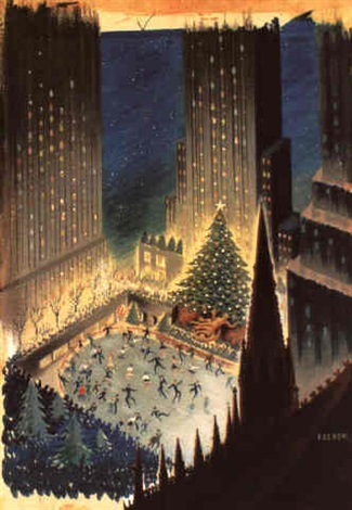 rockefeller center the skating ring and the christmas tree by leo rackow