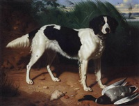 tricolour setter with duck in a river landscape by leon viardot