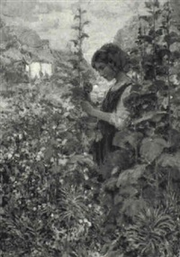young girl in a cottage garden by alfred john billinghurst