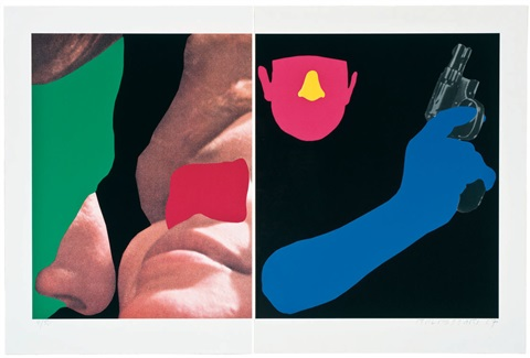 noses ears etc couple and man with gun by john baldessari