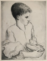 boy holding a bowl by luis quintanilla
