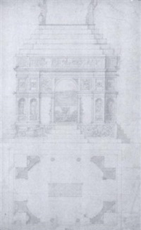 the elevation and ground plan of the tomb of pietro de'medici by antonio da sangallo the younger