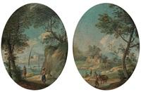 paesaggio con lago e barca e paesaggio con fiume e viandante (2 works) by paolo anesi