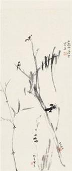 竹石双雀 立轴 水墨纸本 by various chinese artists