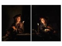 knabe mit langer meerschaumpfeife vor einem kerzenlicht (+ knabe mit einer violine bei kerzenlicht; pair) by arnold boonen