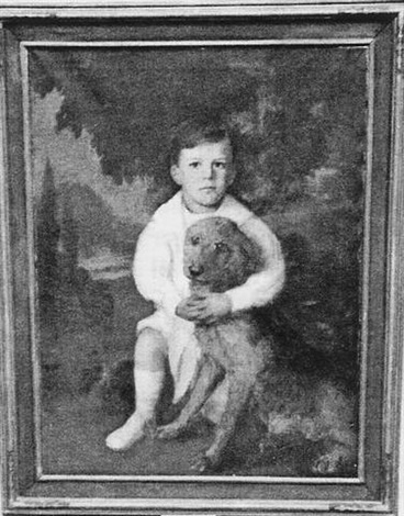 portrait of a young boy depicted in a landscape with white suit and airedale by lydia field emmet