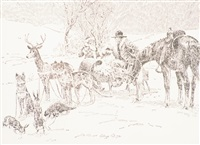 christmas card; double-sided landscape; horse head; steer sketch (4 works) by elling william gollings