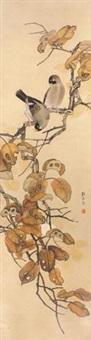 秋叶双禽 by liu kuiling