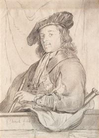 bildnis eines jungen mannes mit kopfbedeckung und aufgelehntem arm by cornelis (jacob c.) ploos van amstel