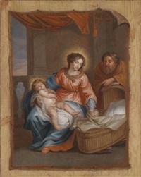 ein trompe-l'oeil mit der heiligen familie by jacob andries beschey