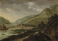 promeneurs le long d'une rivière, un village à l'arrière-plan by joos de momper the elder