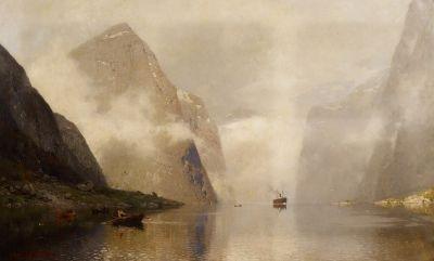 morgennebel im fjord by georg anton rasmussen