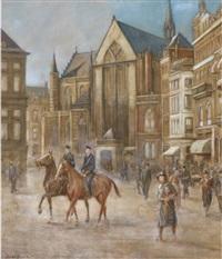 police on horseback on dam square, amsterdam by dirk johannes van haaren