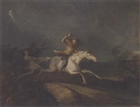 tam o'shanter crossing the auld bridge, pursued by witches and warlocks by j. fyfe