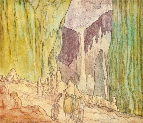 at the mouth of the cave illustrated and stone carvings 2 works by austin osman spare
