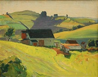 landscape with farm by george g. adomeit