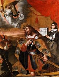 könig david vor einem opferaltar kniend by jan de bray