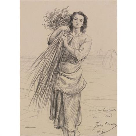 jeune glaneuse portant une gerbe by jules breton