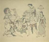 erotica with stylized figures by i. gusti nyoman lempad