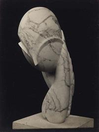 melle pogany ii, vue de trois-quarts, marbre veiné by constantin brancusi