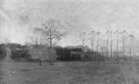 herbstliche landschaft mit waldstück bei dämmerung by charles hippolyte andre