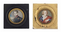 an italian officer, in blue coat with silver-embroidered red collar...; together with a gentleman, in blue coat, white shirt, red cloak (2 works) by pietro billotti
