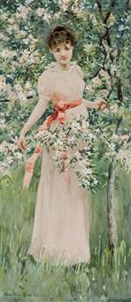 girl with flowers by hamilton hamilton