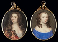 portrait of a lady, her brown hair dressed in ringlets, wearing a blue gown and white chemise and pearl jewelry (+ portrait of a lady, her brown hair cascading over her shoulders, verso) by mathew snelling