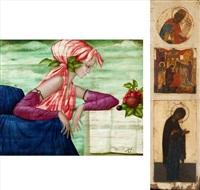 jeune fille avec fruits (set of 2) by philippe augé