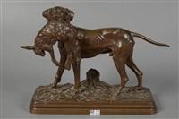 chien de chasse rapportant un lièvre by alfred dubucand