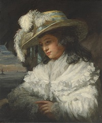 portrait of a lady, half-length, in a white dress and plumed hat, a seascape beyond by john raphael smith
