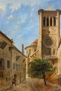 la cathédrale de genève avec l'ancienne prison st-antoine by alexandre-louis d' albert-durade