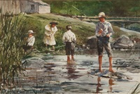 children fishing by the brook by john swan